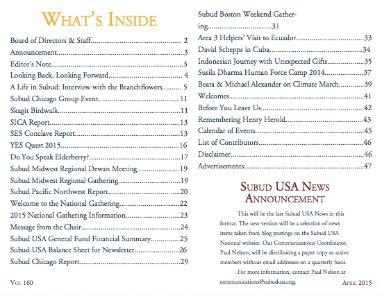 Subud USA Newsletter Contents